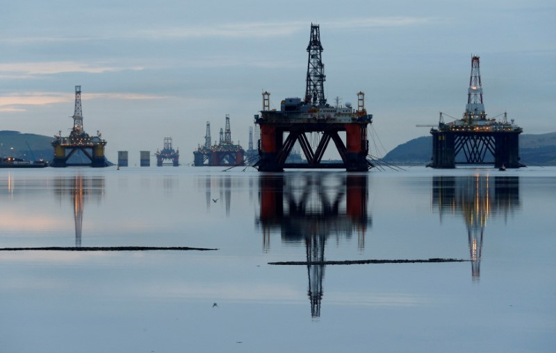 FILE PHOTO: Drilling rigs are parked up in the Cromarty Firth near Invergordon, Scotland