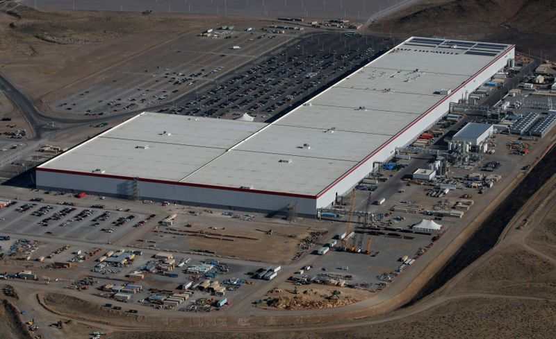FILE PHOTO: Aerial view of the Tesla Gigafactory near Sparks, Nevada
