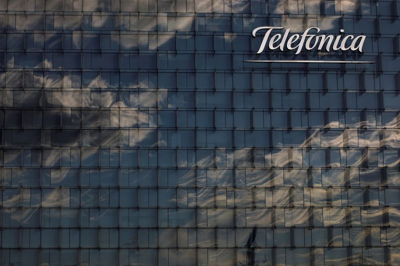 FILE PHOTO: A general view shows the Telefonica headquarters in Madrid