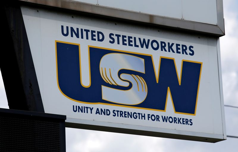 FILE PHOTO: United Steelworkers sign is seen in front of the U.S. Steel Great Lakes Works plant in Ecorse, Michigan