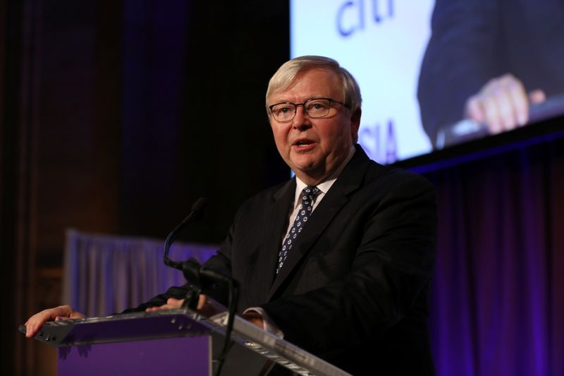 Former Australian Prime Minister and ASPI President Rudd gives a speech during the 2017 Asia Game Changer Awards and Gala Dinner in New York