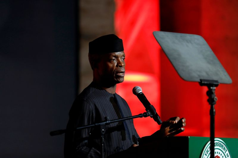 Nigeria's Vice-President Yemi Osinbajo speaks at the launch of Google free wifi project in Lagos