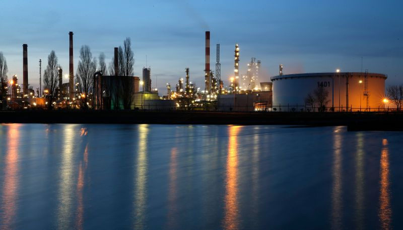 FILE PHOTO: A general view shows the Total Grandpuits oil refinery and petrol depot southeast of Paris