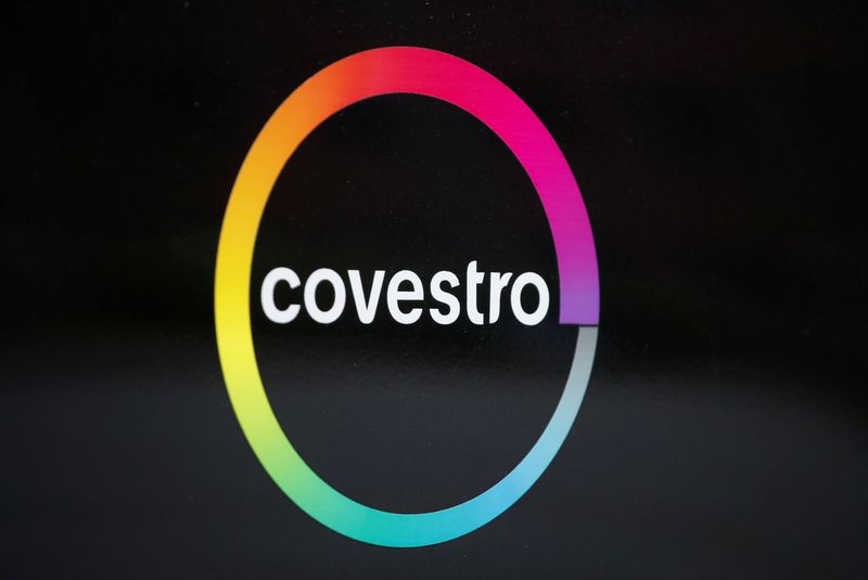 The logo of German chemicals maker Covestro is pictured outside its headquarters in Leverkusen