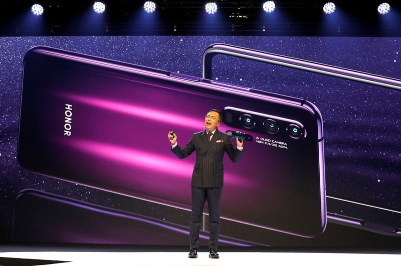 FILE PHOTO: President of Huawei's Honor brand, George Zhao, launches the Honor 20 range of smartphones at an event in London