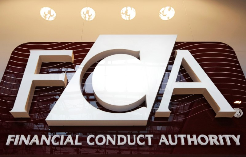 FILE PHOTO: The logo of the new Financial Conduct Authority in the Canary Wharf business district of London