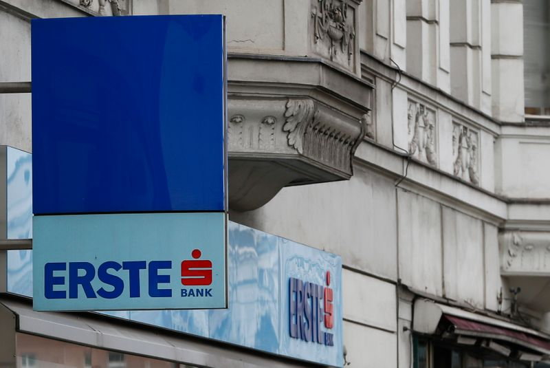 The logo of Erste Group Bank bank is seen outside of one of its UniCredit unit Bank Austria branch offices in Vienna