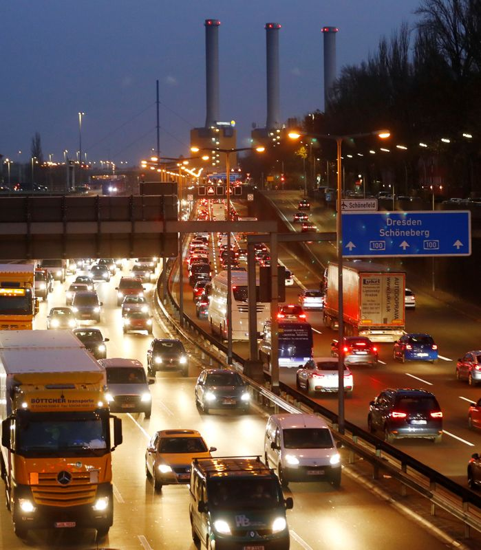 Cars queue during traffic jam on the city highway A100 at rush hour in Berlin
