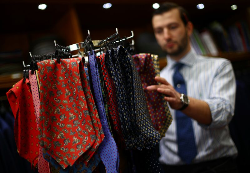Cravats and bow ties are displayed for sale in the Dege & Skinner tailors on Savile Row, amid the coronavirus disease (COVID-19) outbreak, in London