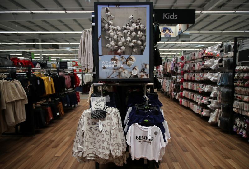 A clothing sign is seen in the UK supermarket Asda, as the store launches a new sustainability strategy, in Leeds