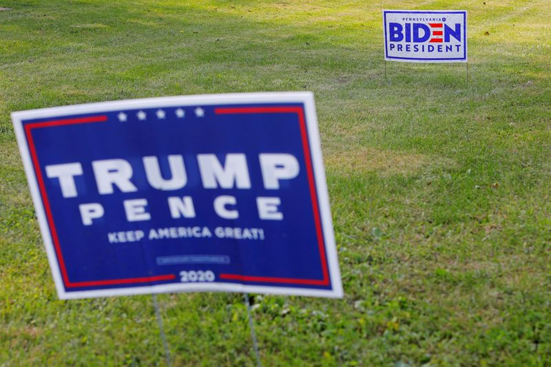 FILE PHOTO: Campaign signs for Trump and Biden stand along a road  in Lower Saucon Township