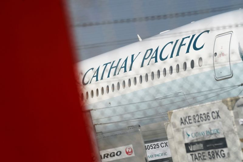 Cathay Pacific aircraft is seen at Hong Kong International Airport in Hong Kong