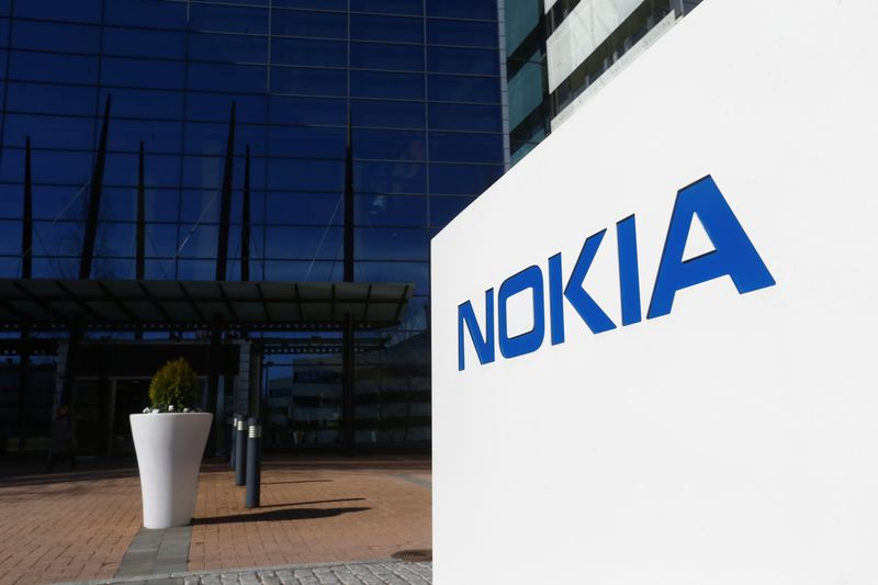 FILE PHOTO: A Nokia logo is seen at the company's headquarters in Espoo, Finland