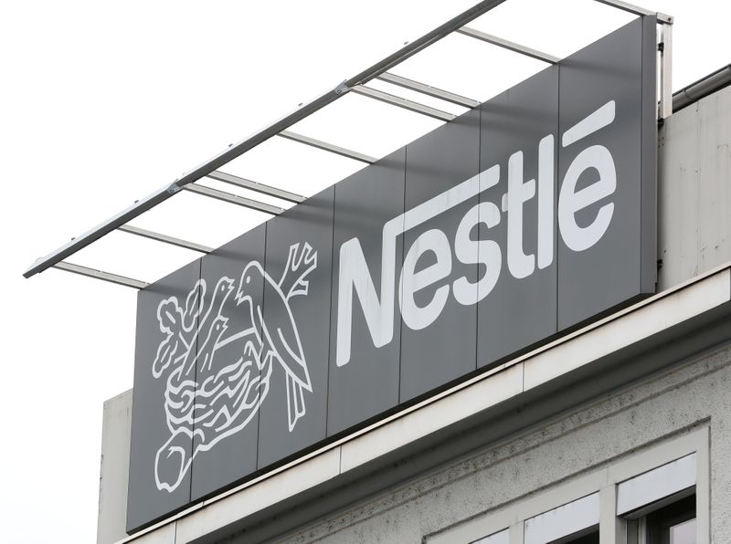 FILE PHOTO: Logo of Nestle is seen in Konolfingen