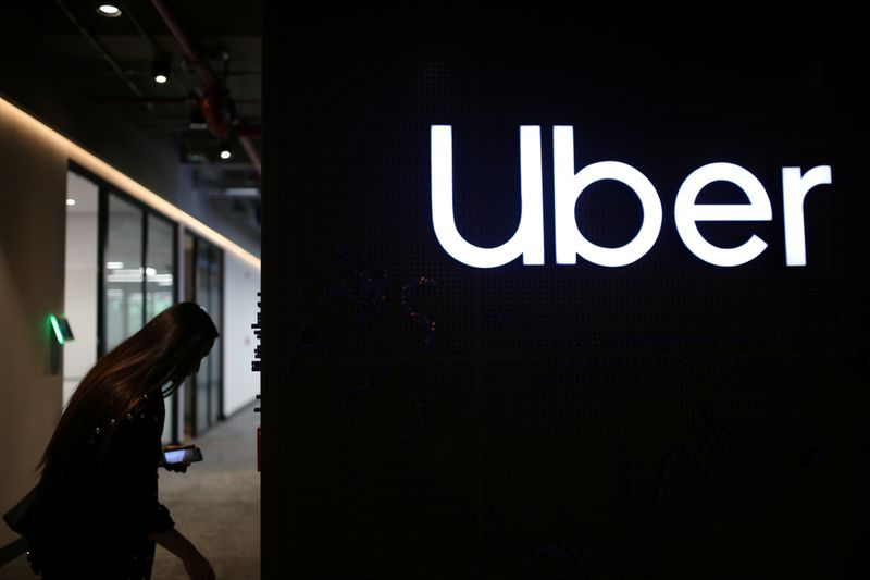 Uber's logo is pictured at its office in Bogota