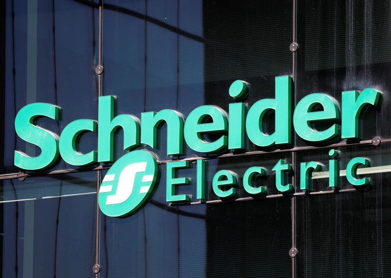 The logo of Schneider Electrics is pictured at the company's headquarters in Rueil-Malmaison near Paris