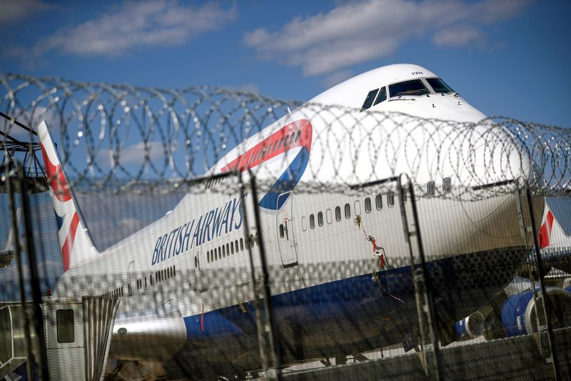 FILE PHOTO: A British Airways Boeing 747 is seen at the Heathrow Airport in London