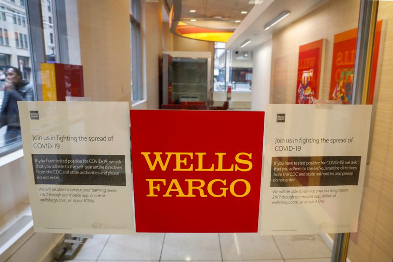 Warning signs for coronavirus disease (COVID-19) are seen on a Wells Fargo bank door in New York