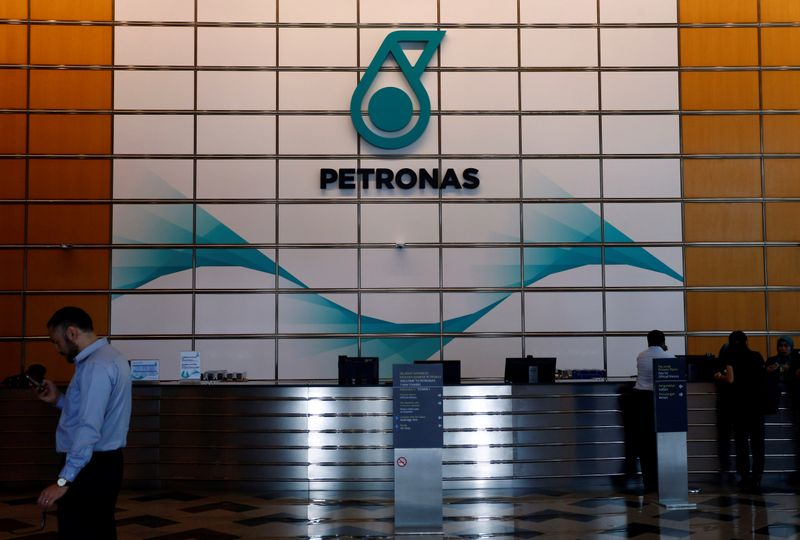 FILE PHOTO:  A Petronas logo at their office in Kuala Lumpur