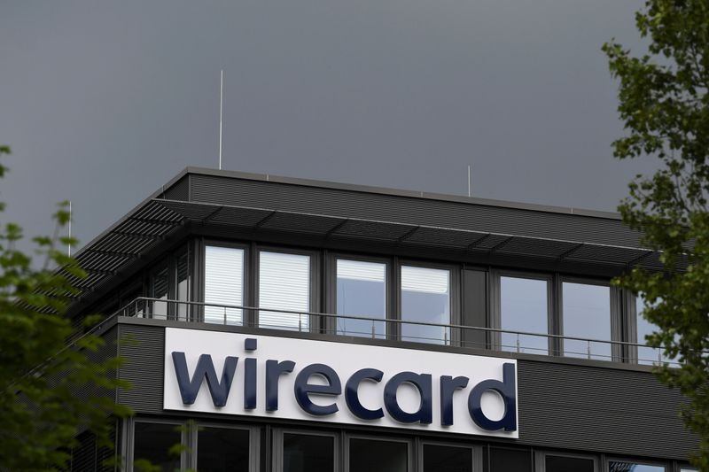 The logo of Wirecard AG is pictured at its headquarters in Aschheim