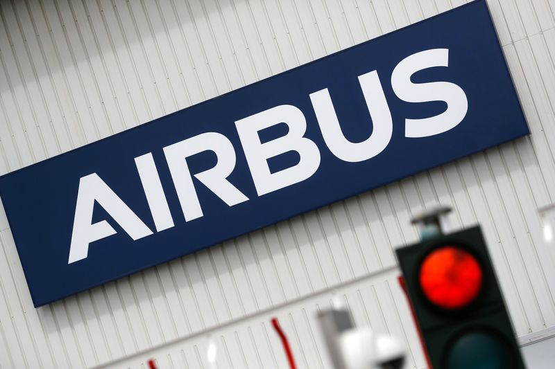 FILE PHOTO: Airbus logo at the entrance of the Airbus facility in Bouguenais