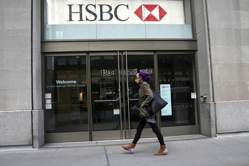 FILE PHOTO: An HSBC bank is pictured in New York