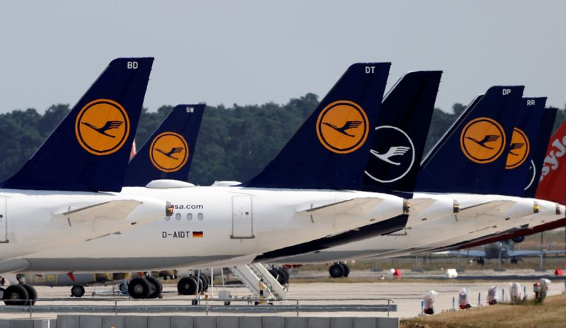 Airplanes of German carrier Lufthansa are parked at the Berlin Schoenefeld airport in Schoenefeld