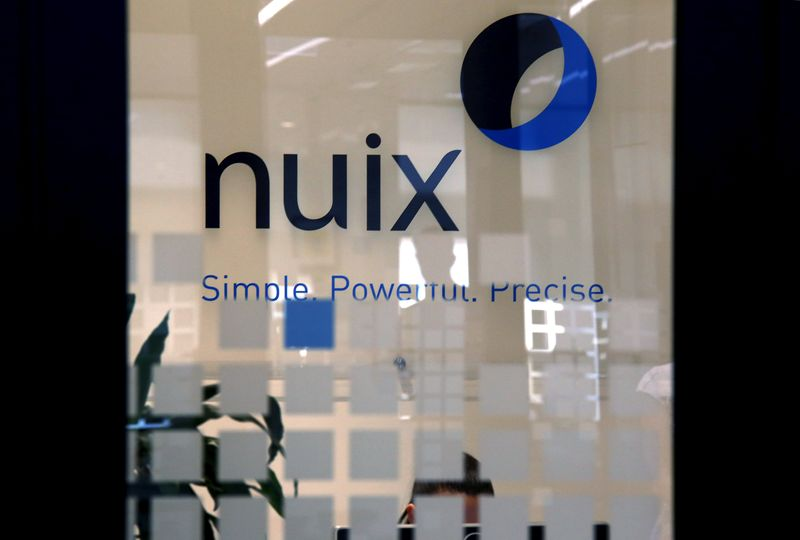 FILE PHOTO: The logo of software company Nuix, set for an IPO later this year, can be seen in an office in central Sydney