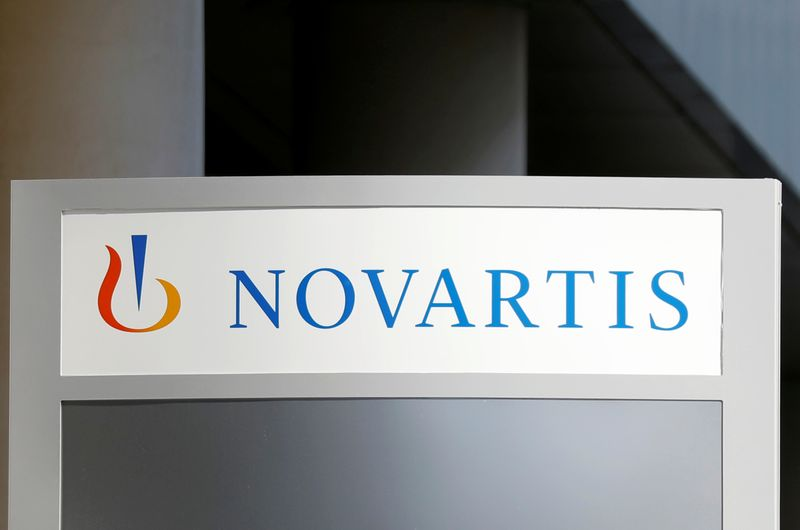 The logo of Swiss drugmaker Novartis is pictured at the French company's headquarters in Rueil-Malmaison