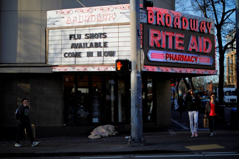 FILE PHOTO: The sign over a drug store advertises flu shots amid the coronavirus outbreak in Seattle