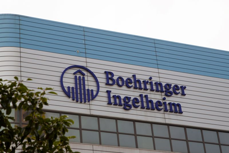 The logo of German pharmaceutical company Boehringer Ingelheim is seen at its building in Shanghai