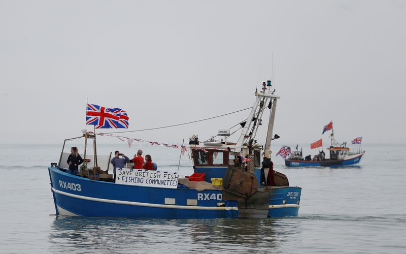 FILE PHOTO: Supporters sail ahead of protests, staged by fishermen and fishing communities from the campaign group 'Fishing for Leave' in ports across the country, against Prime Minister Theresa May's Brexit transition deal, in Hastings