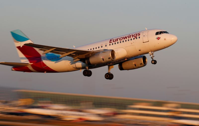 A Eurowings Airbus A319 airplane takes off from the airport in Palma de Mallorca