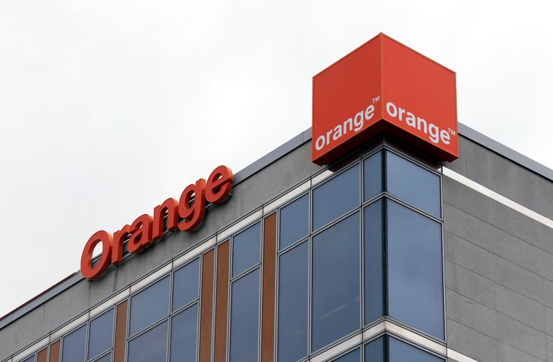 FILE PHOTO: The logo of French telecom operator Orange is pictured in Brussels