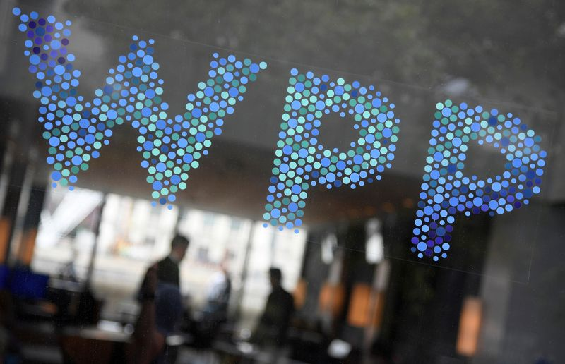 Branding signage is seen for WPP, the world's biggest advertising and marketing company, at their offices in London