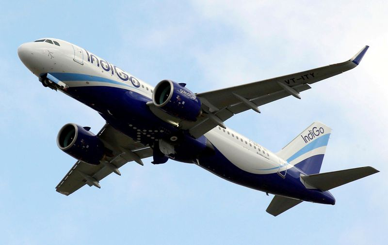 FILE PHOTO: An IndiGo Airlines Airbus A320 aircraft takes off in Colomiers near Toulouse, France