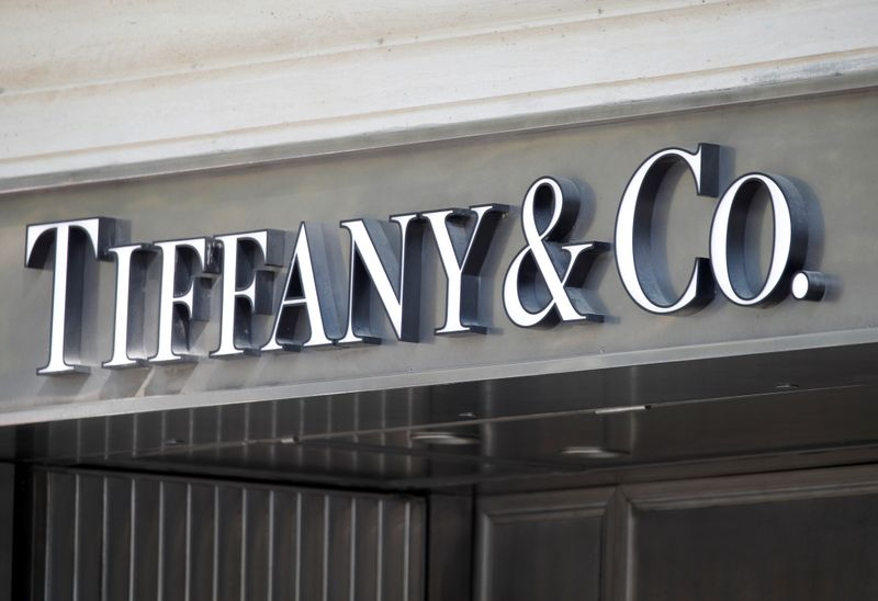 FILE PHOTO: Tiffany & Co. logo outside a store in Paris