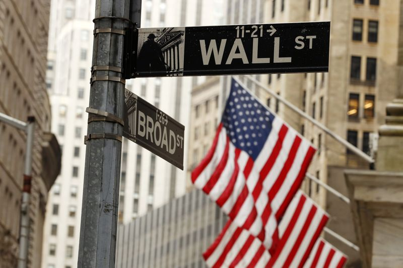 American flags are seen outside the New York Stock Exchange in New York City