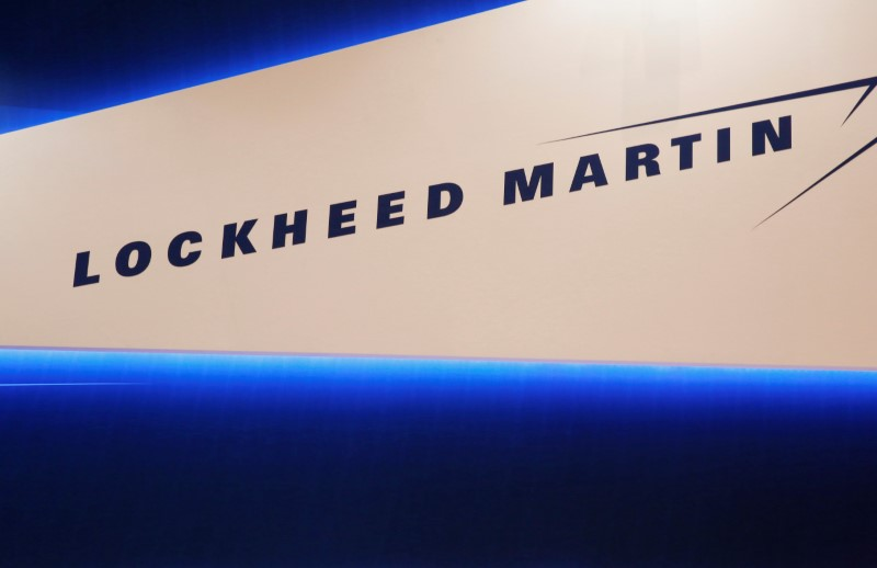 Lockheed Martin's logo is seen during Japan Aerospace 2016 air show in Tokyo