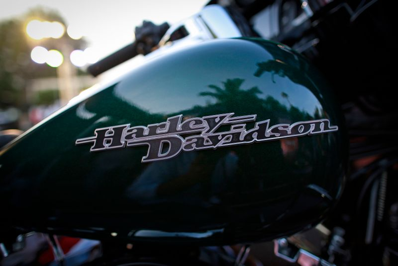 A Harley-Davidson logo is seen on a Street Glide Special motorcycle during its launching ceremony in Mumbai