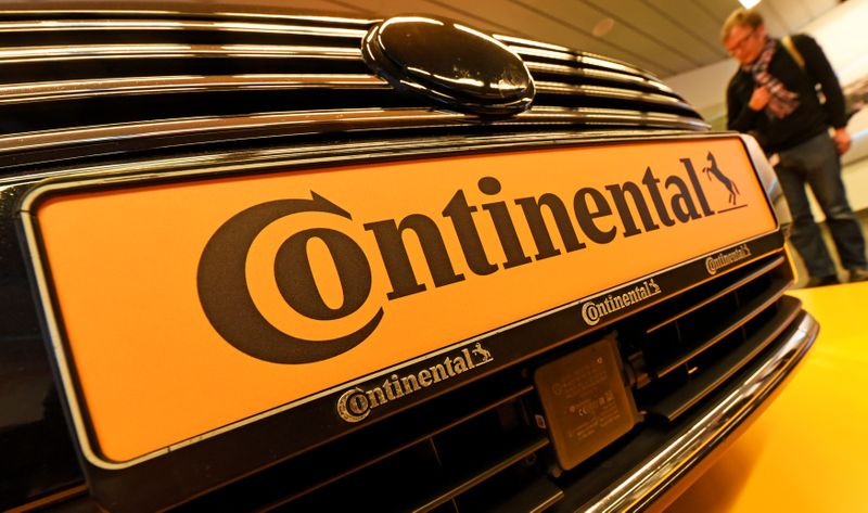 Logo of German tyre company Continental  is seen before the annual news conference in Hanover