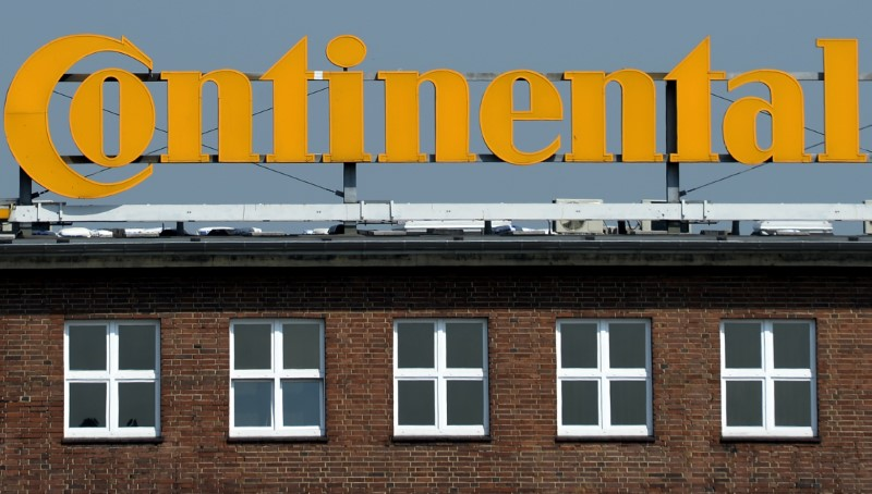 Logo of German tyre company Continental is pictured at the headquarters in Hanover