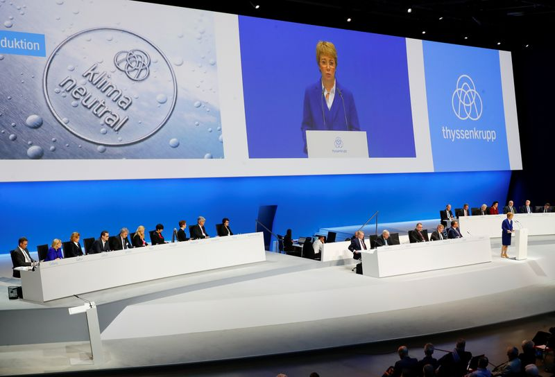 German steelmaker Thyssenkrupp AG annual shareholders meeting in Bochum