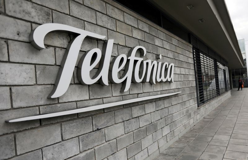 FILE PHOTO: The logo of Telefonica is seen on company's headquarters in Bogota