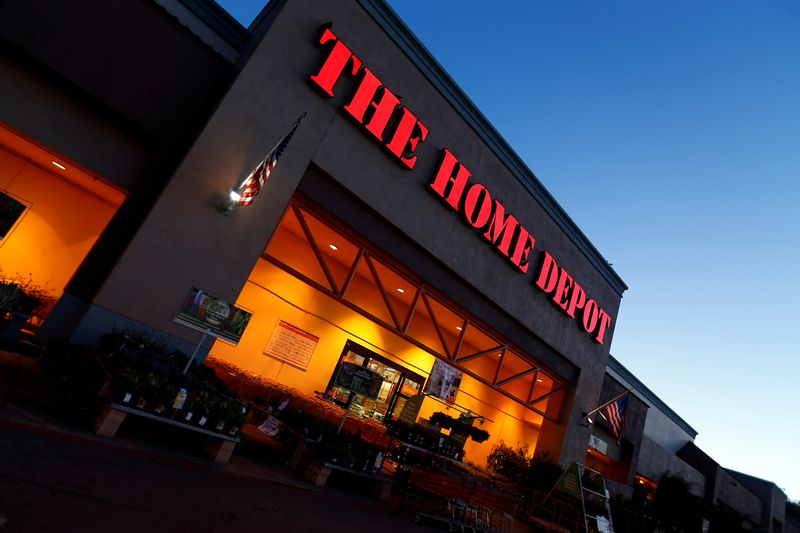 The logo of Down Jones Industrial Average stock market index listed company Home Depot is seen in Encinitas, California
