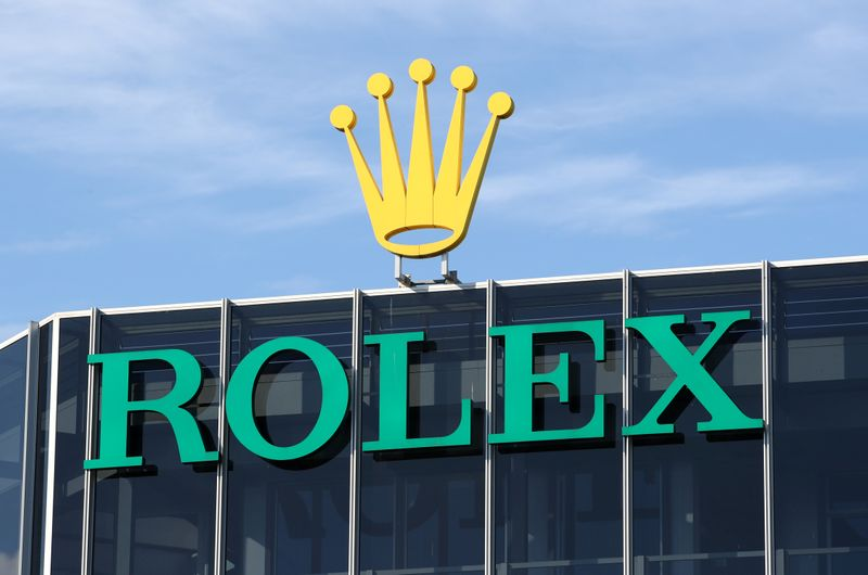 A logo is pictured on the headquarters of Swiss watchmaker Rolex in Geneva