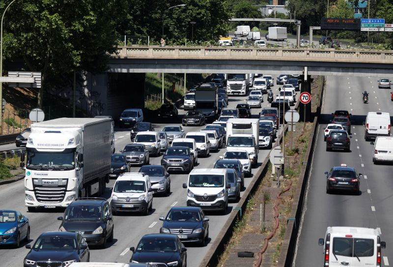 Heavy traffic fills the ring road in Paris