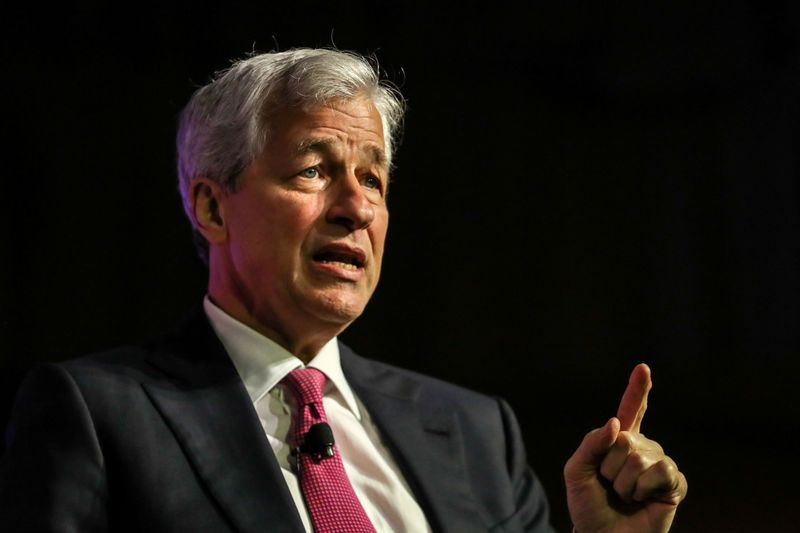 FILE PHOTO: JPMorgan Chase CEO Jamie Dimon speaks at the North America's Building Trades Unions (NABTU) 2019 legislative conference in Washington