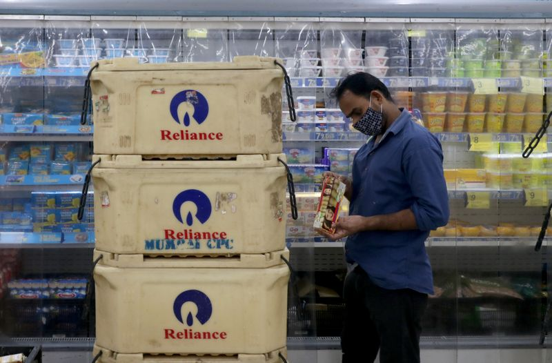Customer shops at superstore of Reliance Industries Ltd, in Mumbai