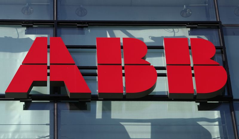 Logo of Hitachi ABB is seen in Zurich